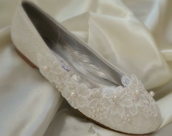 LISA Natural pearl embroidered Lace white or ivory flat or low heel bridal shoes - ideal for wedding