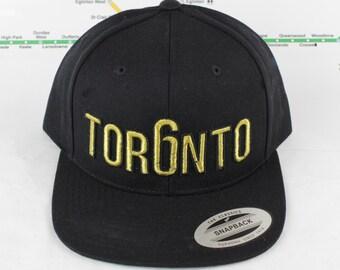 Metallic Gold Toronto Rep'n Snap Back Hat! YYZ, GTA, Tor6nto, Golden, 647, 905, 416, Roman Numerals, T Dot, The 6ix, Six, 6, Unisex, Bling!