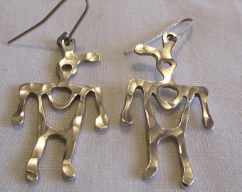 Sterling Silver Petroglyph Look Earrings (Wire Dangles)