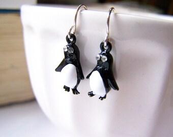 Vintage Tiny Black Penguin Rhinestone Post Earrings / Gift for Her / D276