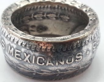 """Mexican silver peso ring. Handforged from an """"un peso"""" 1963 silver coin."""