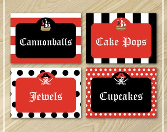 Pirate Party - Pirate Party Food Labels - Buffet Food Labels