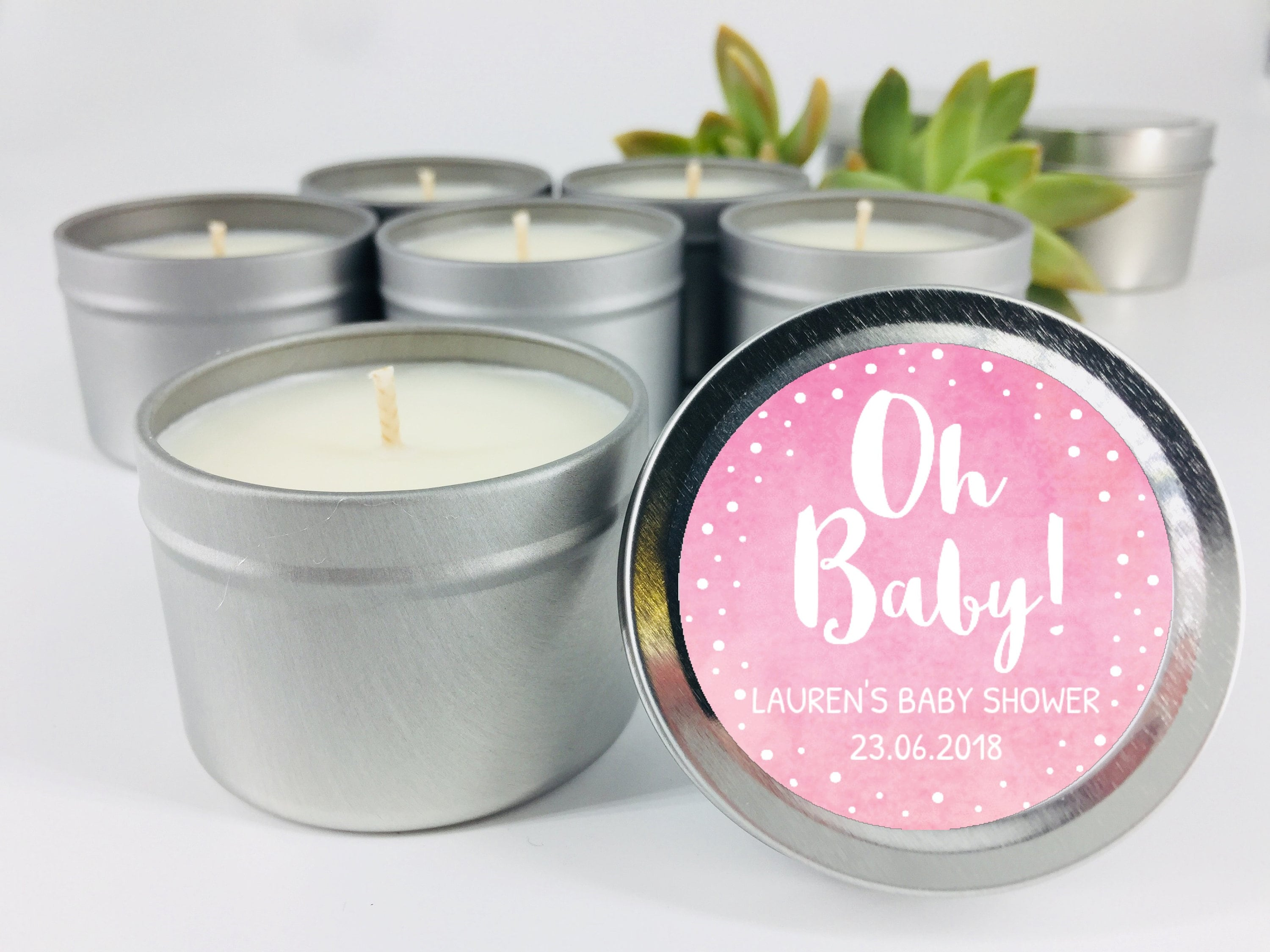 Oh Baby Candle Favours Personalised Light Pink Baby Shower