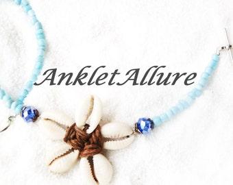 Boho Anklet Beach Ankle Bracelet Cowrie Ankle Bracelet Beach Anklet Blue GUARANTEE Anklets for Women Cowrie Flower Anklet