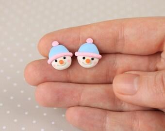 Christmas Snowman Earrings Snowman Stud Earrings Miniature snowman Xmas hat snowman Jewelry Holiday Gift Christmas Kids gift earrings Winter