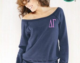 Delta Gamma Sweatshirt, Monogrammed Pullover, Monogrammed Off Shoulder Sweatshirt, Wide Neck Sweatshirt, Delta Gamma Pullover
