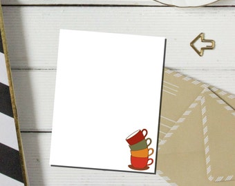 Fall Leaning Coffee Cups Notepad | Coffee Cups Notepad | Customized Stationery  | Teacher Gift | Christmas Gift | Thank You Gift | Everyday