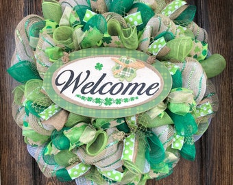 St. Patricks Wreath - st patricks decor - burlap wreath - st patricks - st paddys day - front door wreath - spring wreath - st patricks door
