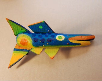 Bright Color Original Fish Art Painted on Ready to Hang Driftwood which is the perfect addition to any room that needs Colorful Wall Decor