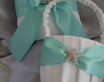 Beach Wedding-White or Cream Ring Bearer Pillow & Flower Girl Basket Aqua Blue Satin Ribbon Rhinestone Starfish Accent-Custom Ribbon Colors