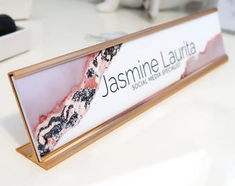 "Custom Agate Nameplate ""Jasmine"" - Personalized Desk Name Plate Wall Sign Decor - Office Accessories - Modern Office Supplies"