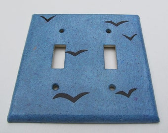 Birds on Blue Sky Recycled Double Light Switch Plates-Recycled Handmade Paper