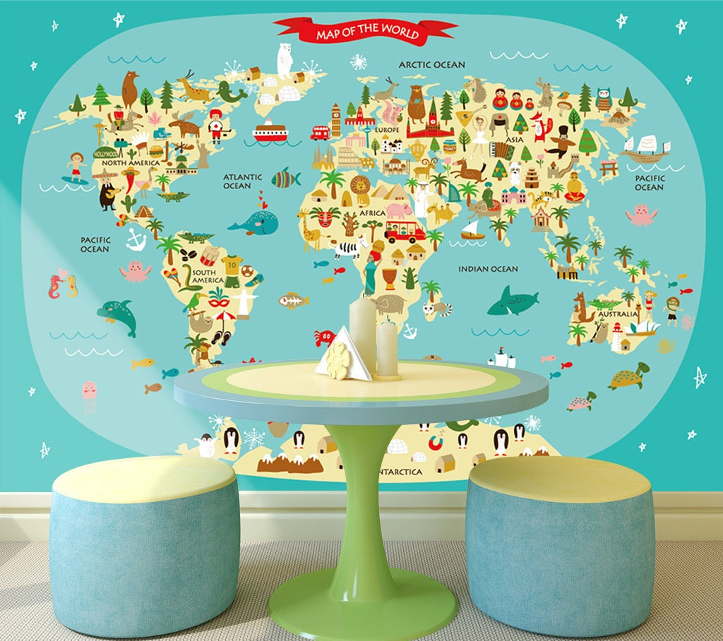 3d cartoon world map 231 wallpaper mural wall print decal wall zoom gumiabroncs Image collections