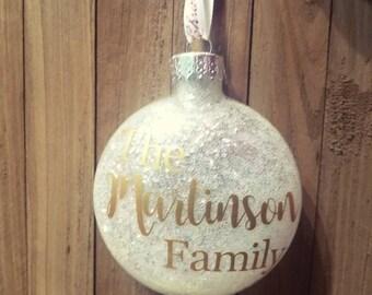 Family Christmas glitter ornament