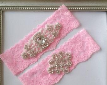 Pink Rhinestone Wedding Garter Set, Pink Stretch Lace Garter Set, Keepsake Garter, Toss Garter, Pink Bridal Garter Set,  Pink Bridal Garter