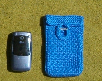 Crochet Bohemian Jewelry Accessory Cell Phone mp3 Totem Pouch Medicine Stash Bag, Denim Blue fwb