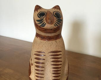 Vintage Tonala Mexican Folk Art Pottery Cat, Small HandPainted Feline, Terracotta, Floral Design on Back, Ceramic Cat, Cat Collection