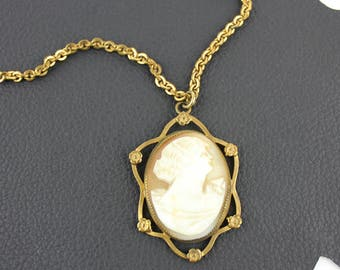Peach White and Gold Art Nouveau Cameo Gold Chain Necklace