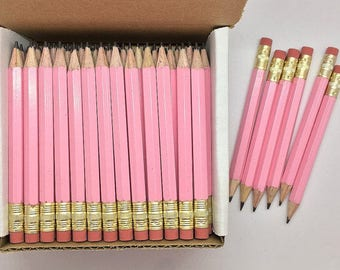144 Pastel Pink Mini short half Hexagon Golf #2 Pencils With erasers Pre-Sharpened Made In the USA - Non Toxic Latex Free Express Pencils TM