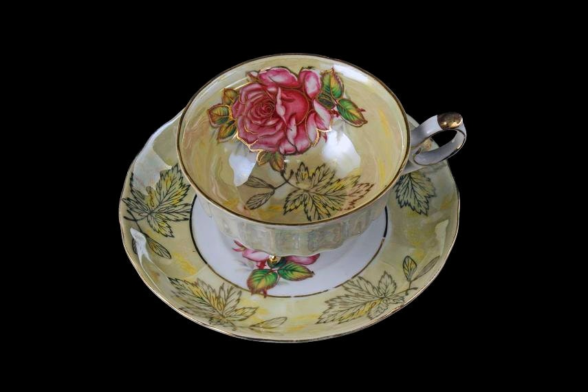 On The Verge Halsey: Three Footed Teacup And Saucer, Royal Halsey, Lusterware