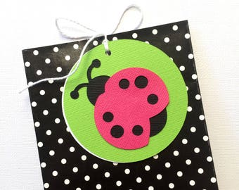 Ladybug gift tags. Baby shower, first birthday, birthday parties. Red or Pink lady bugs, with white or green backing. Little ladybug.