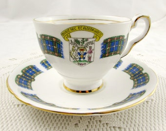 "Royal Stafford ""Nova Scotia"" Tea Cup and Saucer, Souvenir Tea Cup, Vintage Bone China, Tartan, Plaid, Canada Tea Cup"