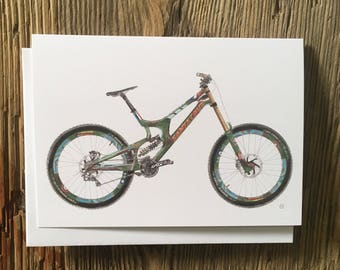 Cycling Card, Steve Peat, Spitfire Santa Cruv V10, Mountain Bike Card, Bike Illustration