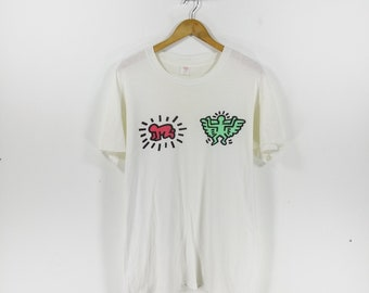 Vintage 80s KEITH HARING X HANES White Tshirt Pop Art Design Size Large
