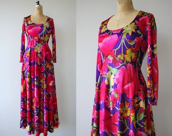 vintage 1970s maxi dress / 70s bright floral maxi dress / 70s pink purple floral dress / long sleeve dress / spring dress / medium