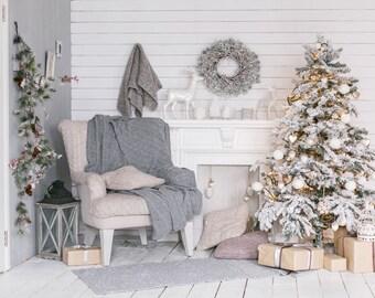 Christmas interior vinyl photography backdrop,christmas holiday dector vinyl photoshoot background,children family studio photodropXT-6132