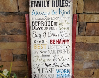 Family rules sign, personalized gift, customized gift, Christmas gift