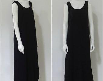 Minimalist 1990s Dress/ Black Tie Back Dress/ Rayon Midi Dress/ Womens Size Medium