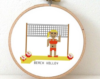 2 x beach volley cross stitch pattern. Summer cross stitch pattern. DIY beach home decor. Gift a Beach cabin wall decoration.