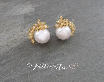 Gold Vintage Style Pearl Wedding Earrings, Pearl Bridal Earrings, 1950s Wedding Stud Earrings, Gatsby, Silver, Rose Gold, Gold - 'ADENA''
