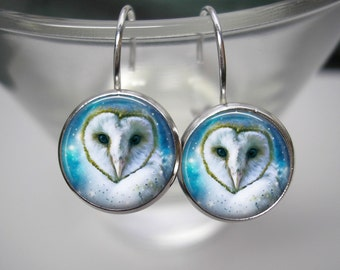 Fantasy Owl - 12mm Leverback Drop Earrings in Shiny Silver - Matching Pendant and Chain Available