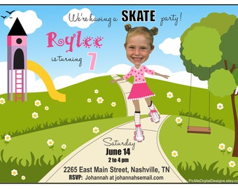 Custom Photo Skate Party Birthday Invitation, Roller Skate Birthday Invitation, Photo Birthday Invitation, Roller Skate Party, Custom Photo