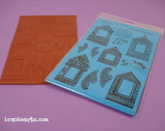 Traditional House Frames / Invoke Arts Collage Rubber Stamps / Unmounted Stamp Set