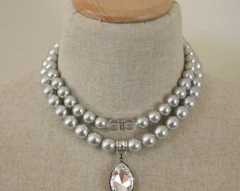 Two Strand Lightweight Light Gray Swarovski Necklace, Bridal Necklace, Pearl Necklace, Swarovski Pendant, Formal Jewelry, Mixed Metal