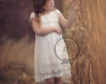 lace flower girl dress ivory flower girl dress girls lace dress boho flower girl vintage flower girl dress toddler flower girl dress
