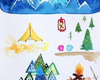 Watercolor/ Watercolor print/ wall art/ Nursery wall art/ Art print/ watercolour/ Housewarming gift/ Wall art prints/ Wall decor/ camping