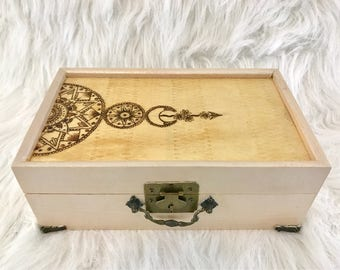 Mandala Jewelry Box, Wood Jewelry Box, Bohemian Jewelry Box, Woodburned Box, White Jewelry Box