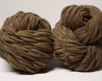 Thick and Thin Yarn Handspun Moorit Brown Shetland Wool Slub  tts(tm) Hand dyed Half-Pounder Super Bulky