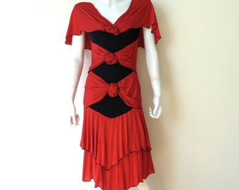 Vintage 1980's/Hollie Harp Red Silk Knit Dress/80's Holly Harp Silk Jersey Red Dress/Rich Hippie Style/Small-Medium