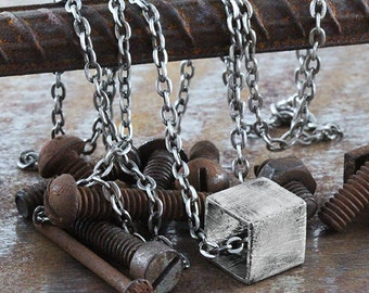 Silver Cube Necklace Rustic Antique Chain Mens Jewelry