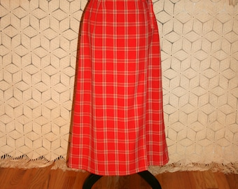 90s Long Wrap Skirt Women Small Cotton Maxi Skirt Red Plaid Check Skirt Casual Liz Claiborne Size 6 Skirt Vintage Clothing Womens Clothing