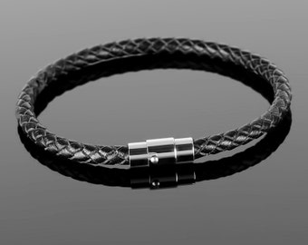 Braided leather bracelet  - Mens braided leather bracelet with real stainless steel clasp. Reliable fixation, good skin, minimalistic design