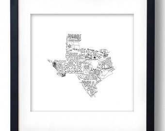 Texas - Hand drawn illustrations and type