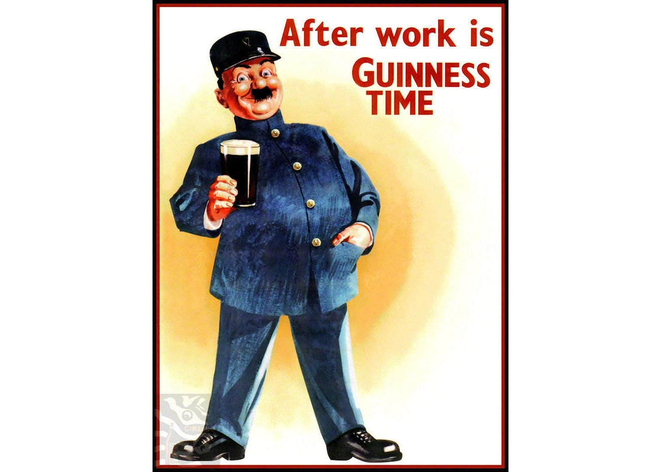 After Work Guinness Vintage Poster Art Print Retro Style Beer