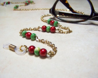 Red and Green Chain for Glasses, Light Weight 28 inch Eyeglass Chain One of A Kind