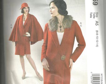McCalls 7259 size 6 - 14 new and uncut lovely womans coat with cape topper
